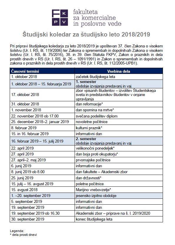 Študijski koledar za š. l. 2018/2019