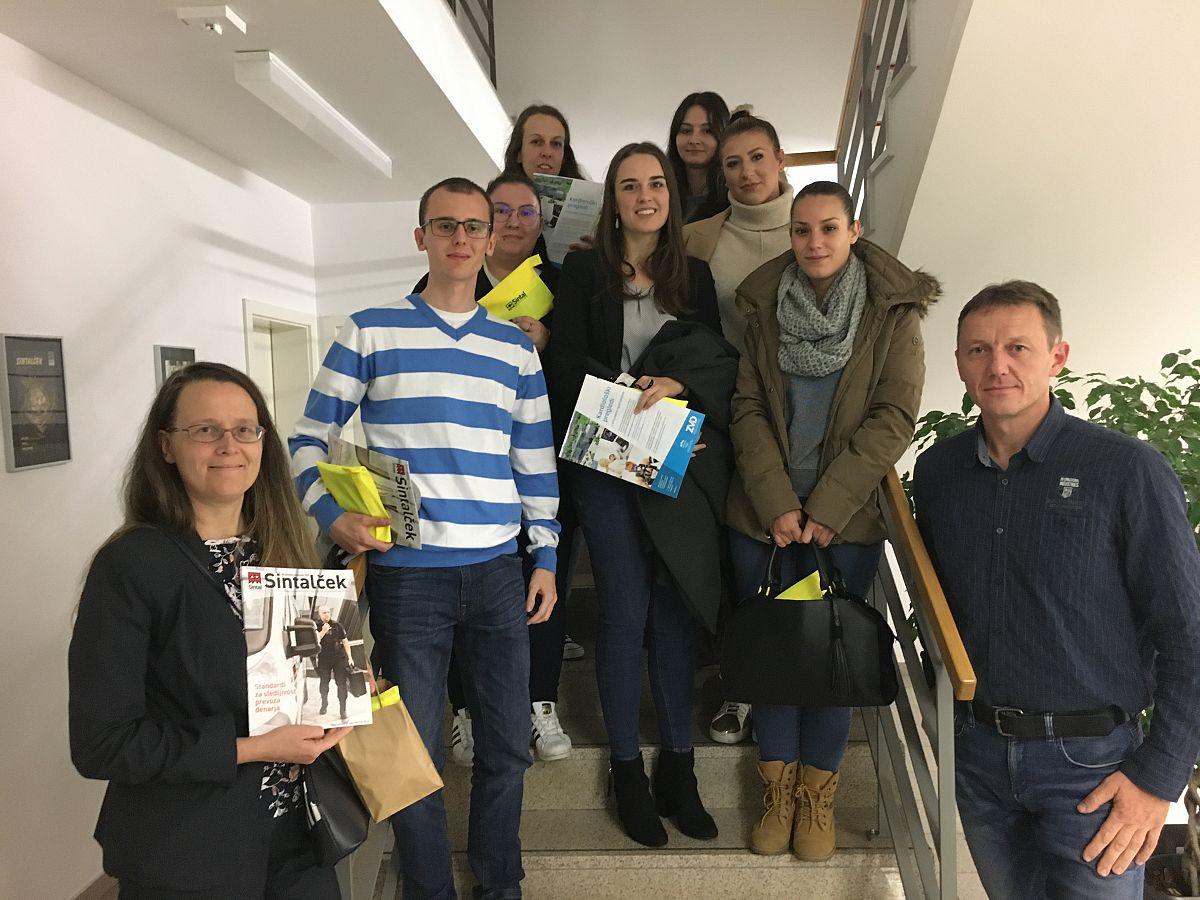 Strokovna ekskurzija pri predmetu Trendi ravoja menedžmenta prireditev (doc. dr. Elena Marulc) – obisk podjetja Sintal Celje d.o.o.