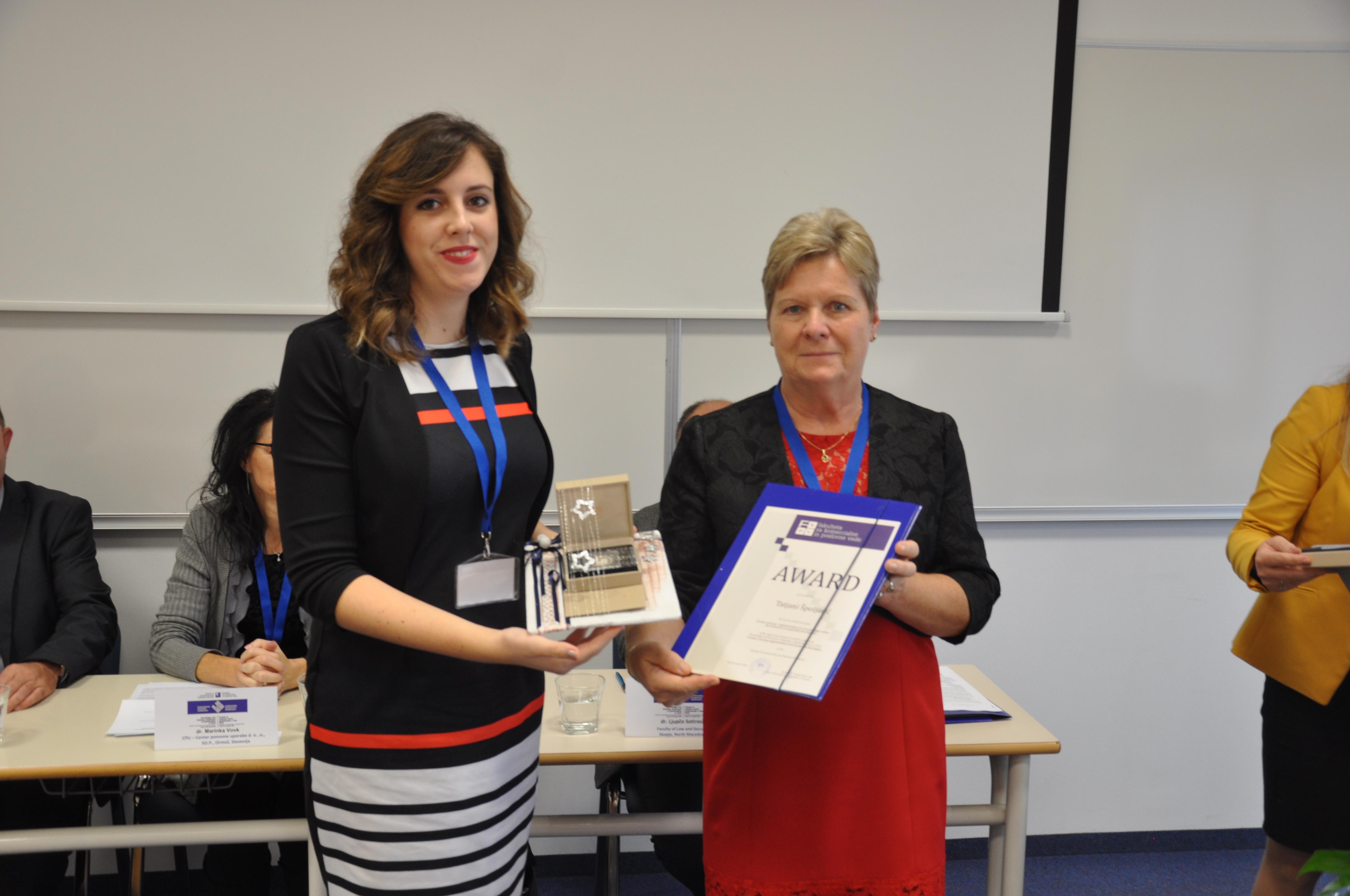 Priznanje za najboljši članek konference je prejela Tatjana Špoljarić, mag. s prispevkom Kružno gospodarstvo – implementacija nove paradigme u okviru održivog razvoja