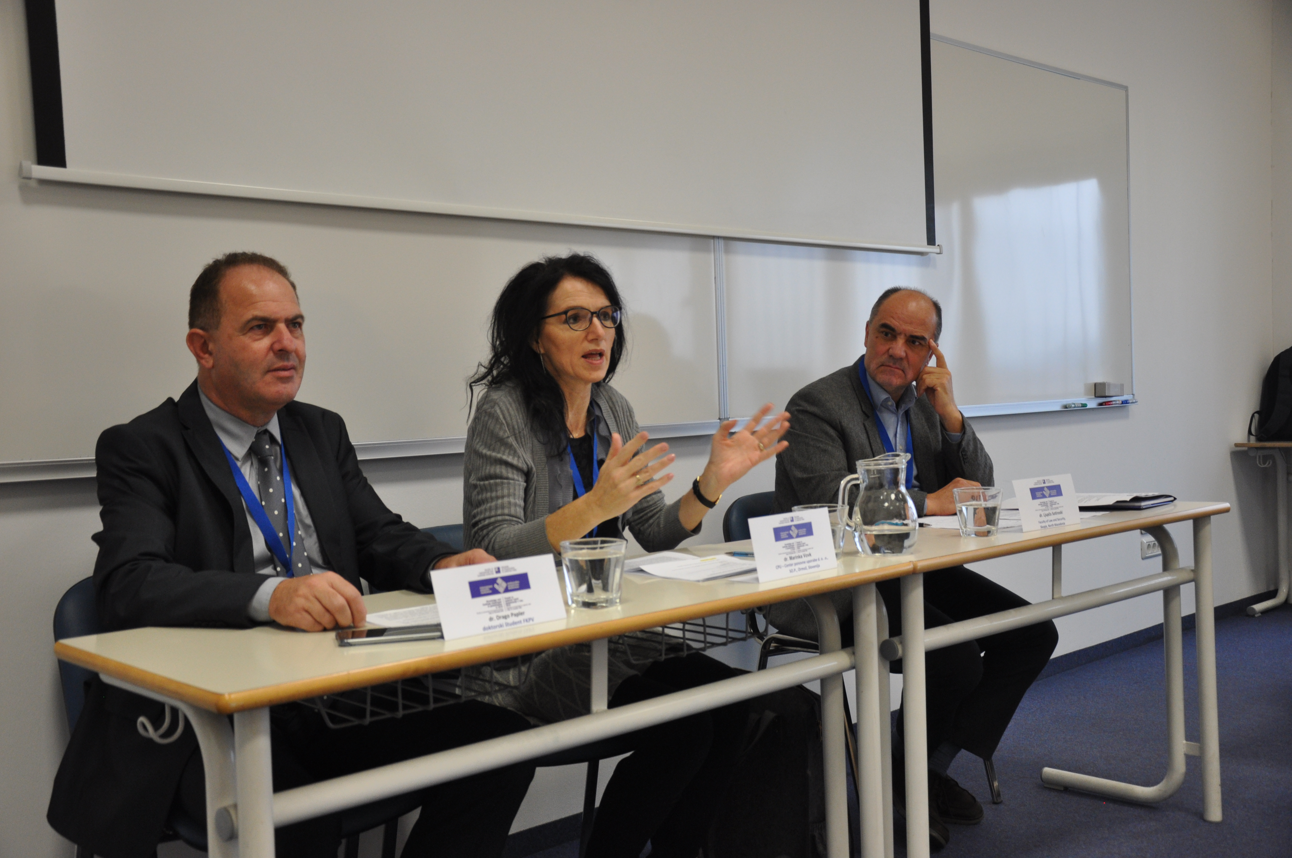 """Okrogla miza na temo """"Konflikt med ekonomijo in ekologijo"""", ki jo je uspešno vodila dr. Marinka Vovk (sodelujoča: dr. Ljupče Sotiroski in dr. Drago Papler)"""